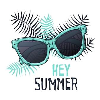 ビンテージスタイルのベクトルスケッチサングラス。レタリング:こんにちは夏。
