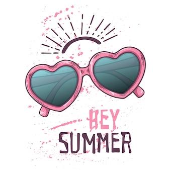 Векторный эскиз солнцезащитные очки в винтажном стиле. надпись: эй лето.