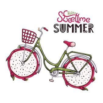 車輪の代わりにドラゴンフルーツを持つ自転車のベクトルイラスト。