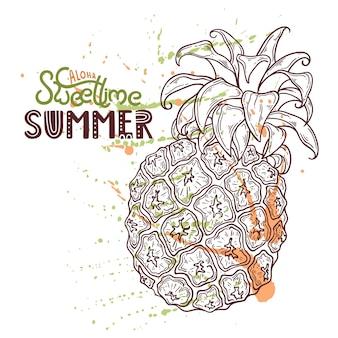 Иллюстрация ананаса. надпись: алоха, сладкое время лета.
