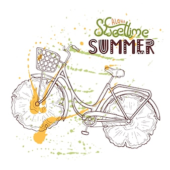Иллюстрация велосипеда с ананасом вместо колес.