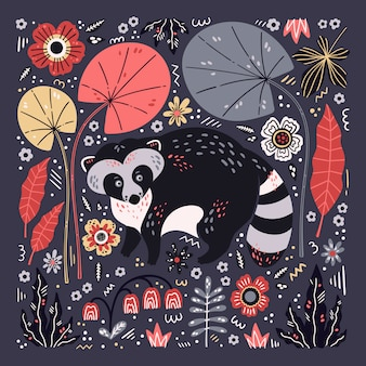 ベクトルフラット手描きアライグマは植物や花に囲まれています。