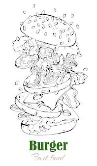 ファーストフードのテーマのベクトルイラスト:ハンバーガー。