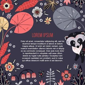 Вектор плоской рисованной. место для вашего текста в окружении растений и цветов.