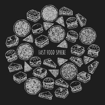 ハンバーガーとファーストフードの種類のセット