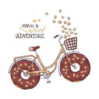 イラストをスケッチします。車輪の代わりにドーナツを持つ自転車。