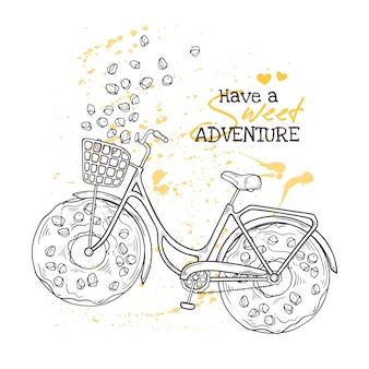 車輪の代わりにドーナツを持つ自転車。