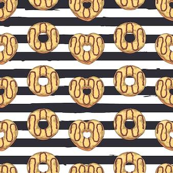 シームレスパターンベクトル。トッピング、チョコレート、ナッツで飾られた艶をかけられたドーナツ。