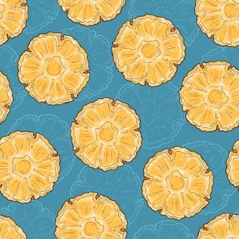 Бесшовный фон из ананаса в стиле эскиза.