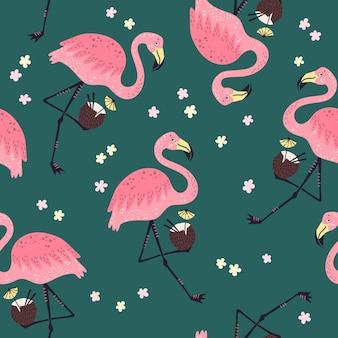 Бесшовные модели милый фламинго с цветами.