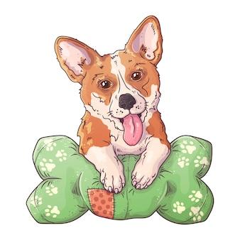 枕の上のかわいいコーギー犬の肖像画。