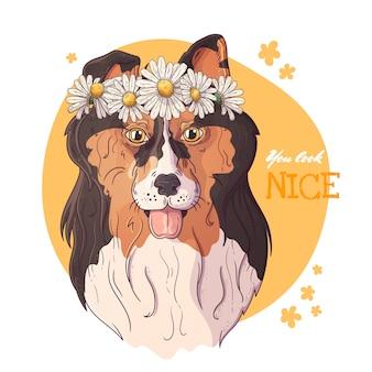ヒナギクの花輪とコリー犬の肖像画。