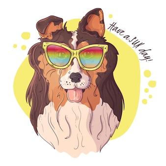 イラストのスケッチ。メガネでかわいい犬の肖像画。