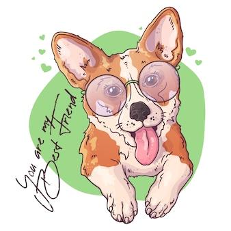 かわいいコーギー犬の肖像画。