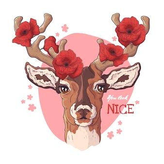 ポピーと鹿の肖像画。