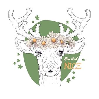 イラストのスケッチ。ヒナギクの花輪を持つ鹿の肖像画。