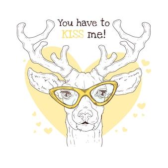 ベクターの手描きイラスト。メガネでかわいい現実的な鹿の肖像画。