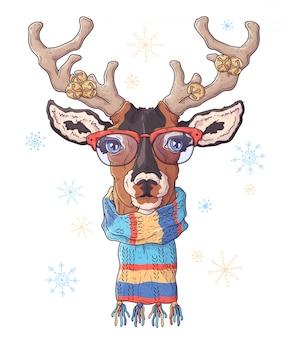 鹿の手描き