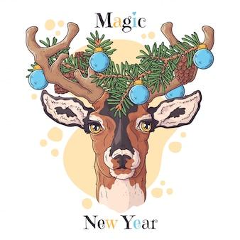 クリスマスアクセサリーで鹿の手描き