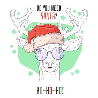 クリスマスに鹿の手描きの肖像画