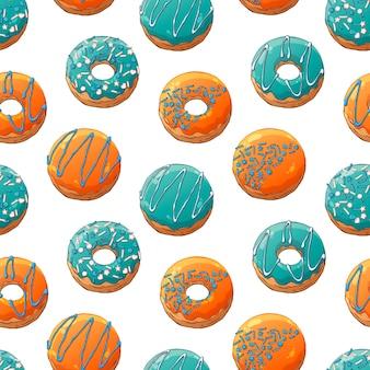 トッピングで飾られたベクトルドーナツのパターン