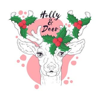 Ручной обращается портрет оленей в рождество