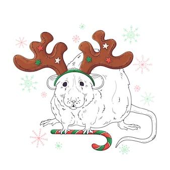 クリスマスの動物の手描きの肖像画