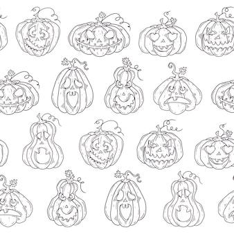 ハロウィーンカボチャと手描きのパターン。