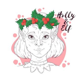 クリスマスのシンボルベクトルとエルフの女の子の描かれた肖像画を手します。