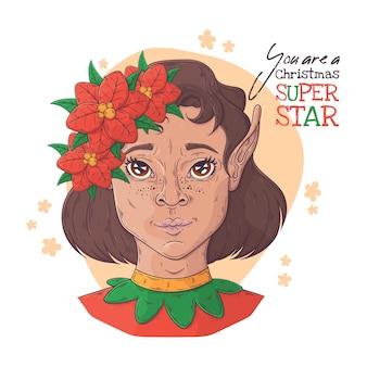 Вручите вычерченный портрет девушки эльфа с вектором символов рождества.