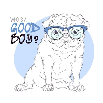 Вручите вычерченную иллюстрацию милой собаки мопса в стеклах.