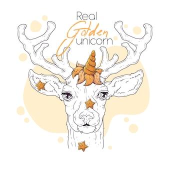 Вручите сделанную иллюстрацию милого оленя с волшебным рогом единорога