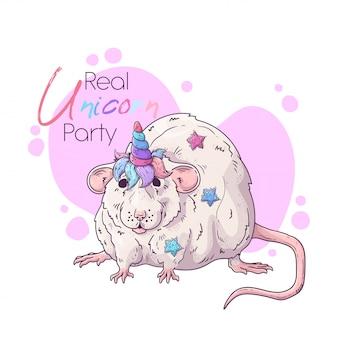Вручите вычерченную иллюстрацию крысы с волшебным рожком единорога.