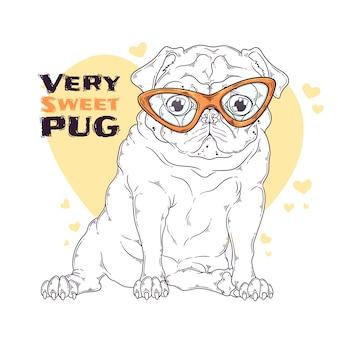 Нарисованная рукой иллюстрация милой собаки мопса в стеклах