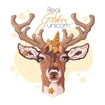Вручите сделанную иллюстрацию милого оленя с волшебным рогом единорога.