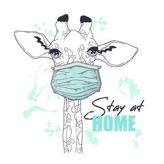 Вручите вычерченную иллюстрацию милого жирафа в медицинской маске.