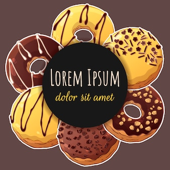 Круглая наклейка с пончиками.