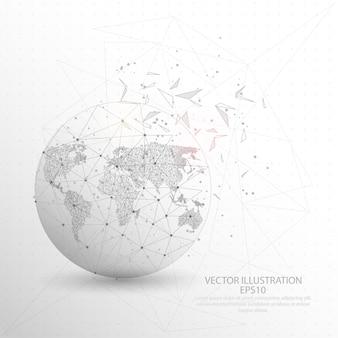 Карта мира с глобальным рисунком низкопрофильной проволочной сетки с треугольным треугольником.