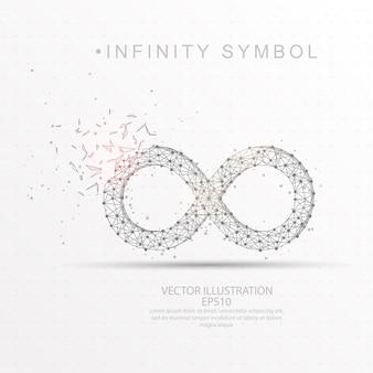 無限のシンボル形状のデジタル描写された低ポリワイヤーフレーム