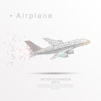 航空機は、低ポリ三角ワイヤーフレームをデジタルで描いた。