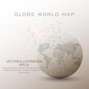 世界地図世界低ポリワイヤーフレーム。