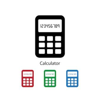 異なる色が設定された白い背景の電卓のアイコン。