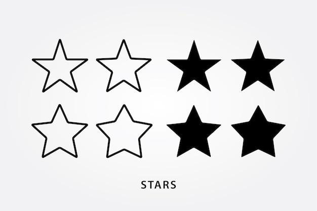 アウトラインと黒い星のアイコンセット
