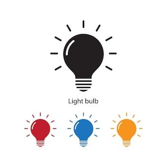 異なる色が設定された白い背景に電球のアイコン。
