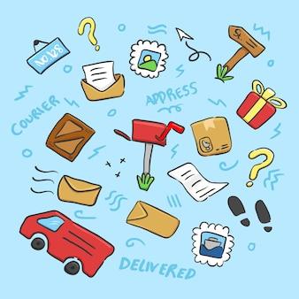 郵便局を描く落書き手書きオブジェクトまたはロジスティックオブジェクト要素の色