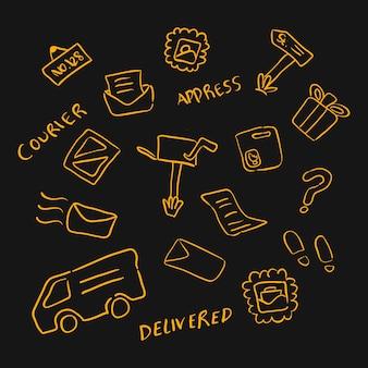 落書き手書き郵便局またはロジスティックオブジェクト要素