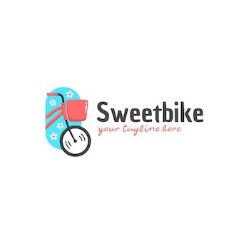 スウィートバイクの甘くてかわいいピンクの女性自転車のロゴ