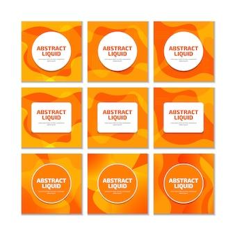 ソーシャルメディアの投稿のオレンジ色の液体流体現代のトレンディな背景。