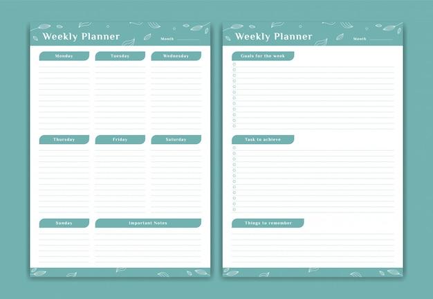 Еженедельное расписание планировщика с понедельника по воскресенье с еженедельными целями и примечаниями в мягком зеленом цветочном оформлении листьев