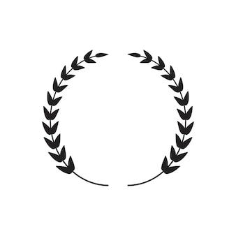 黒い薄い月桂樹の花輪